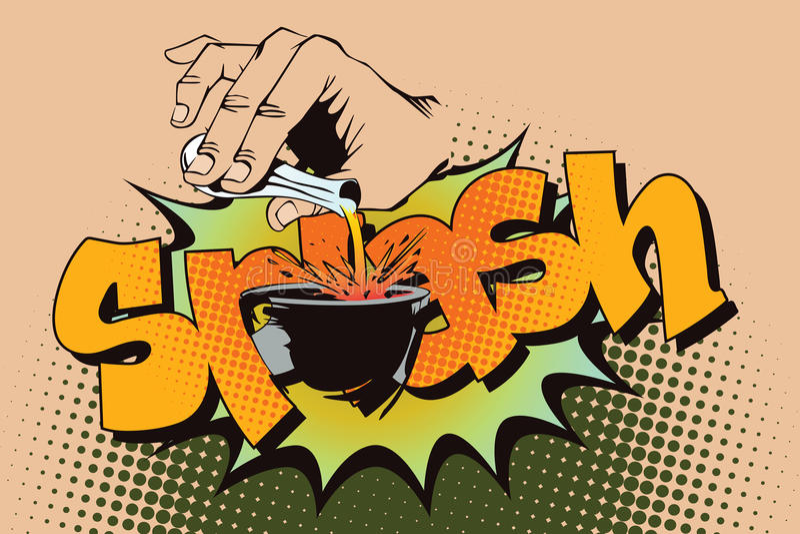 för illustrationorange för bakgrund ljust materiel Stil av popkonst och gamla komiker Hällande flytande för hand från en provrör stock illustrationer