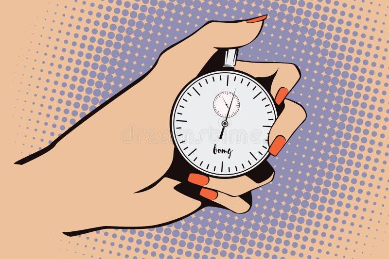 för illustrationorange för bakgrund ljust materiel Stil av popkonst och gamla komiker Stopwatch i hand stock illustrationer