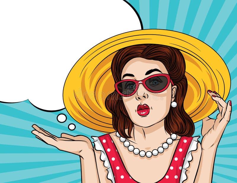 För illustrationpop för vektor retro stil för konst komisk av en nätt kvinna i röd klänningklädersolglasögon och en hatt royaltyfri illustrationer