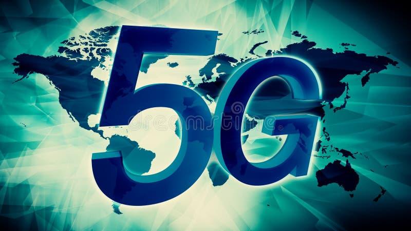 för illustrationvärldskarta för nätverk 5G bakgrund stock illustrationer