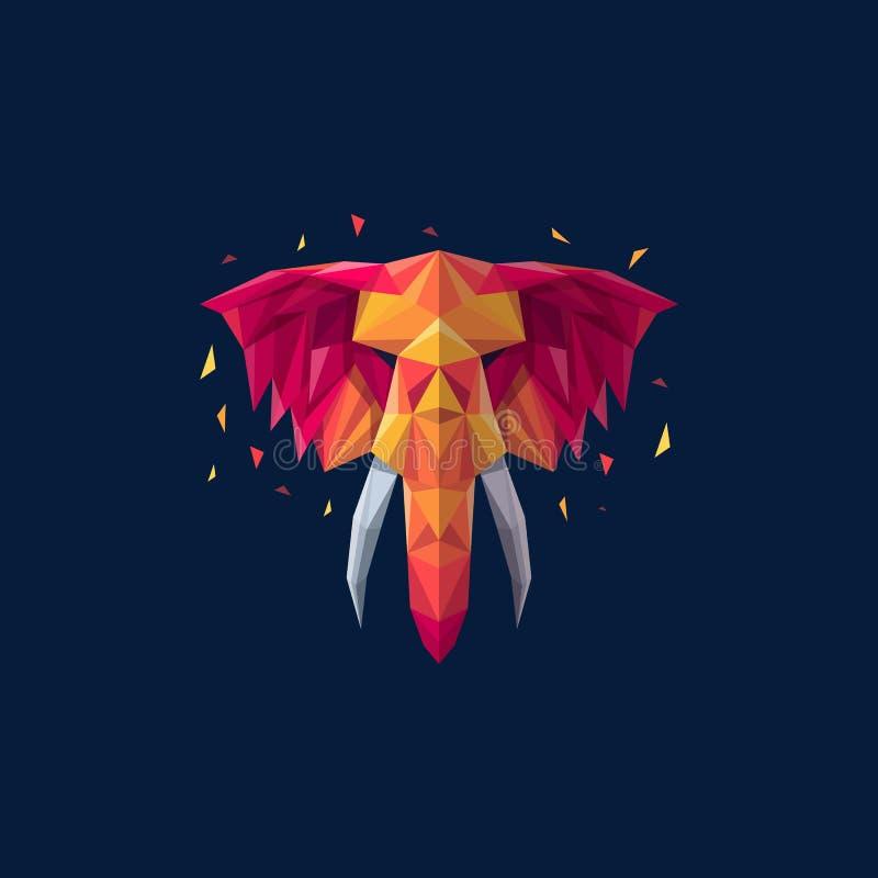 För illustrationvektor för elefant geometrisk mall vektor illustrationer