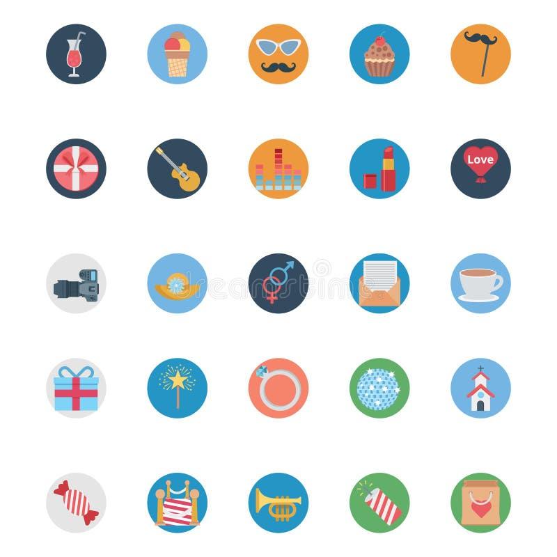 För illustrationvektor för parti och för beröm kulöra symboler vektor illustrationer
