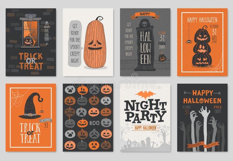 För inbjudan- eller hälsningkort för allhelgonaafton hand dragen uppsättning stock illustrationer