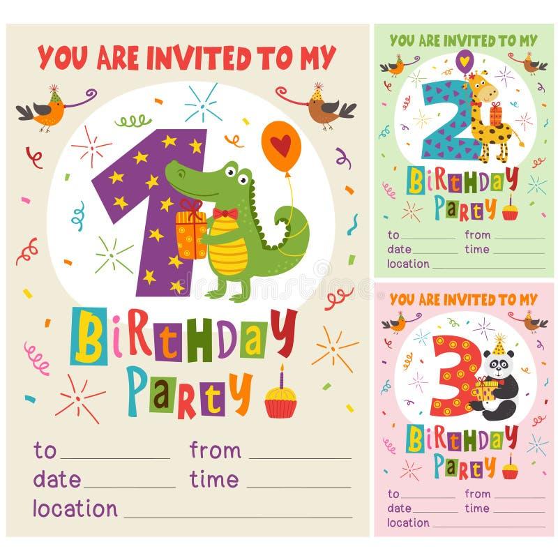 För inbjudankort för lycklig födelsedag mall med roliga djur från 1 till 3 royaltyfri illustrationer