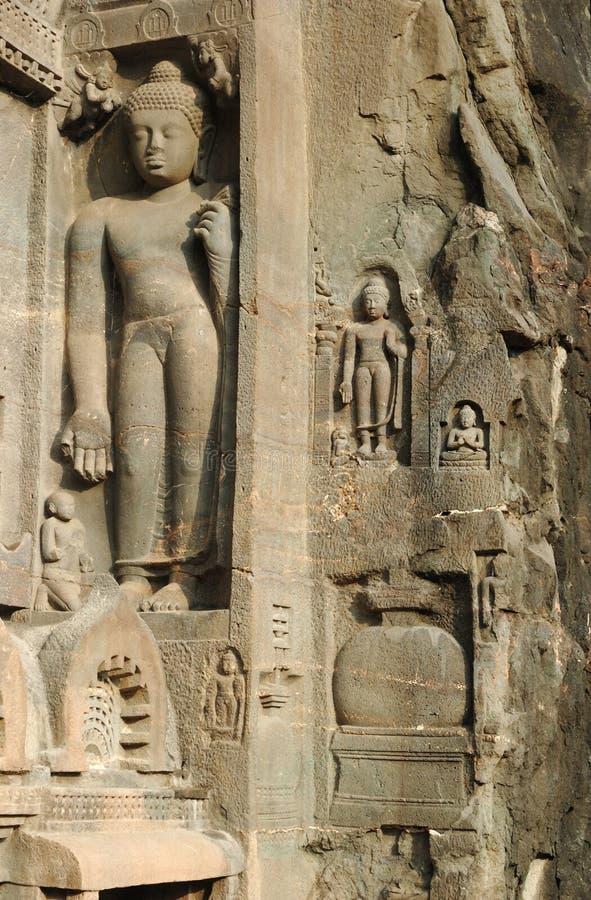 för india för ajantabuddha grotta komplicerat tempel statyer royaltyfria foton