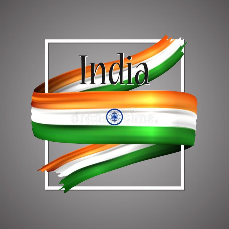 för india för tillgänglig flagga glass vektor stil Officiella medborgarefärger Realistiskt band för indier 3d För härlighetflagga vektor illustrationer