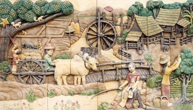 för infött thai vägg stuckaturtempel för kultur royaltyfria foton