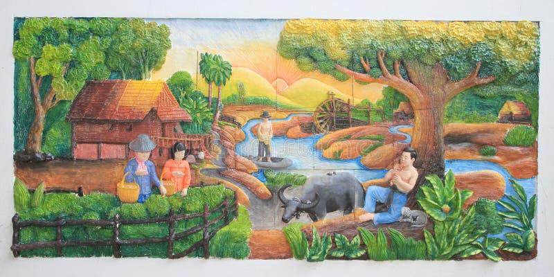för infött thai vägg stuckaturtempel för kultur arkivfoton