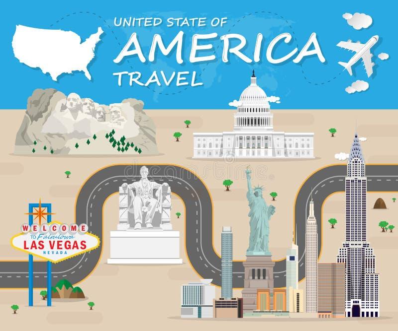För Infographic för lopp och för resa för USA gränsmärke global design vektor royaltyfri illustrationer