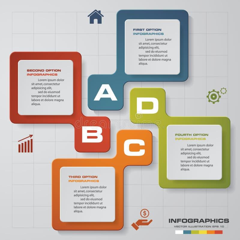 för Infographic för 4 moment orientering för mall rapport också vektor för coreldrawillustration stock illustrationer