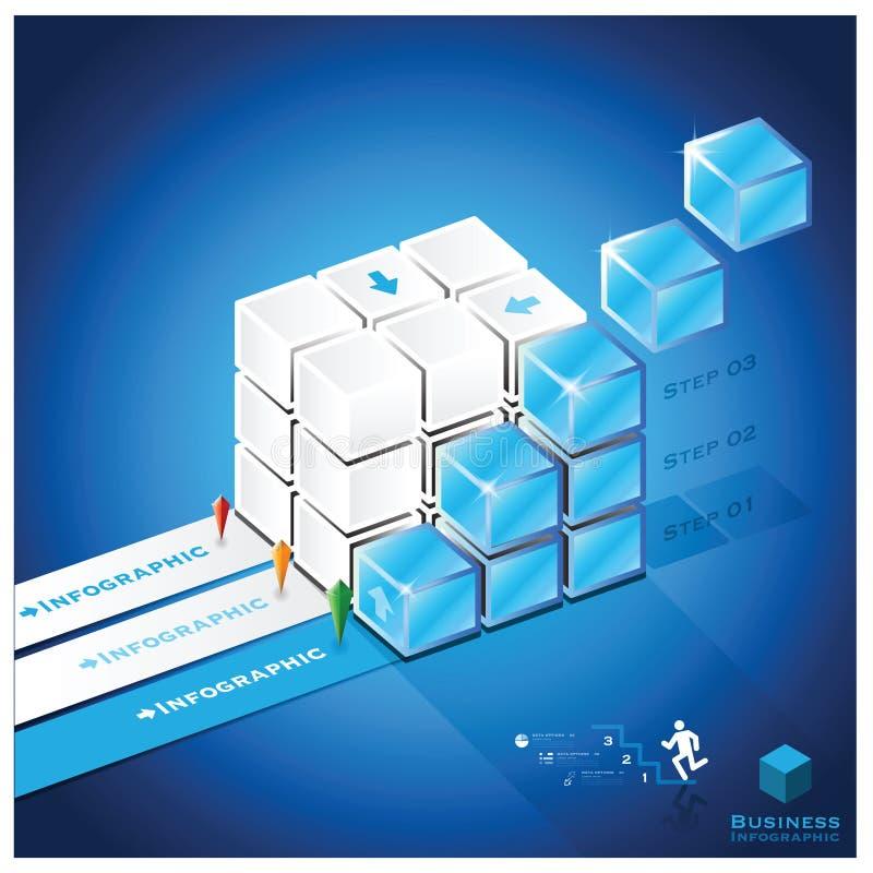 För Infographic för trappakubaffär mall design vektor illustrationer