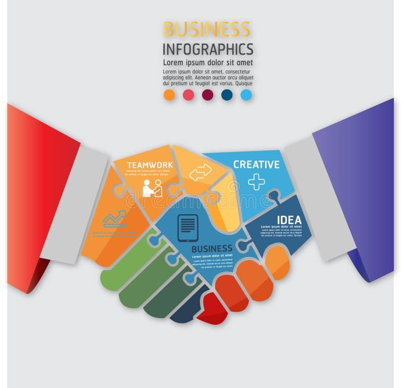 För infographic idérik handskakning för affär begrepp och affärsteamwork royaltyfri illustrationer