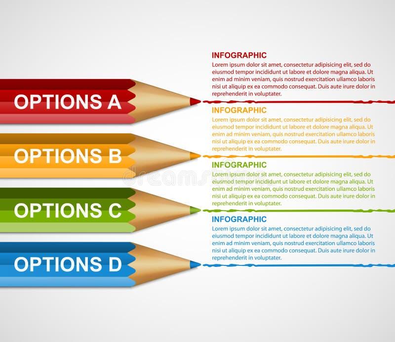 För Infographics för utbildningsblyertspennaalternativ mall design vektor illustrationer