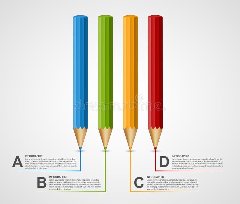 För Infographics för utbildningsblyertspennaalternativ mall design royaltyfri illustrationer