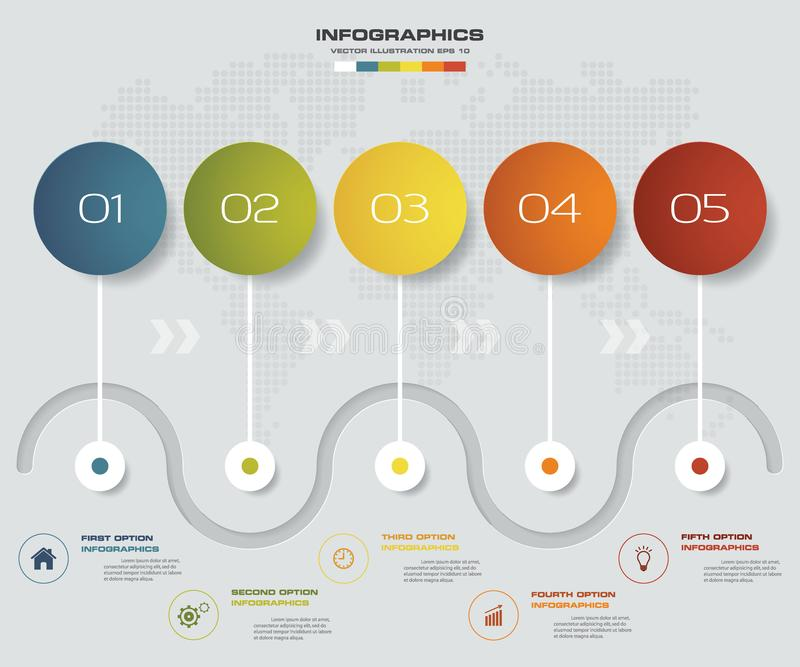 för infographicsbeståndsdel för 5 moment diagram för mall för timeline för presentation royaltyfri illustrationer