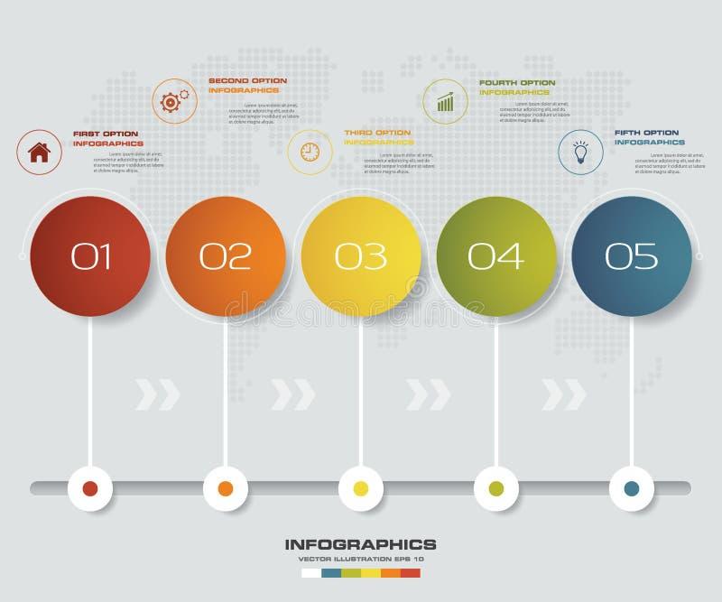 för infographicsbeståndsdel för 5 moment diagram för mall för timeline för presentation stock illustrationer