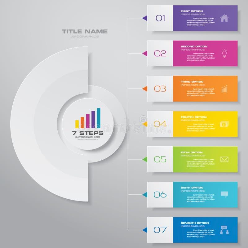 för infographicsdiagram för 7 moment beståndsdel för design För datapresentation royaltyfri illustrationer