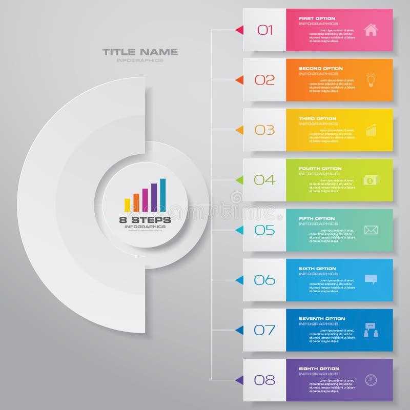 för infographicsdiagram för 8 moment beståndsdel för design För datapresentation vektor illustrationer