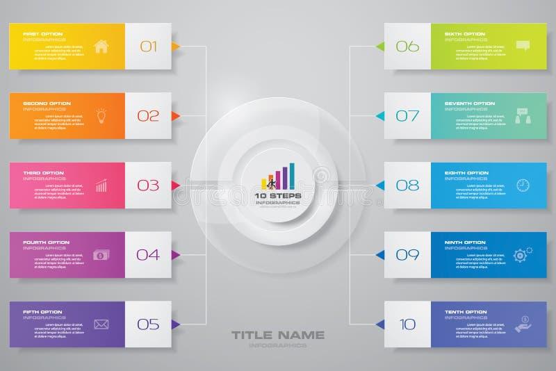 för infographicsdiagram för 10 moment beståndsdel för design För datapresentation stock illustrationer