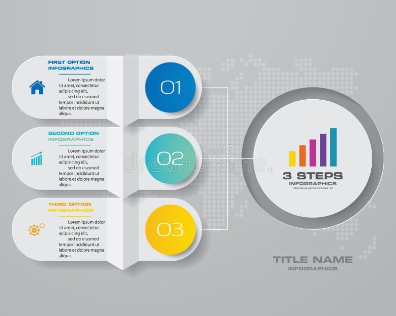 f?r infographicsdiagram f?r 3 moment best?ndsdel f?r design F?r datapresentation royaltyfri illustrationer
