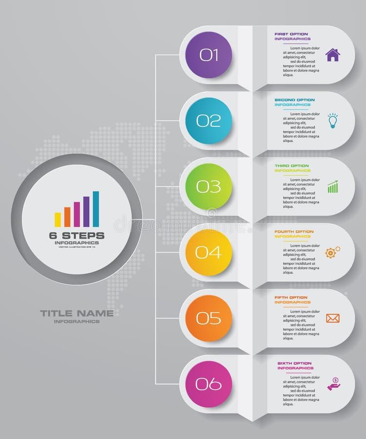 för infographicsdiagram för 6 moment beståndsdel för design F?r datapresentation stock illustrationer