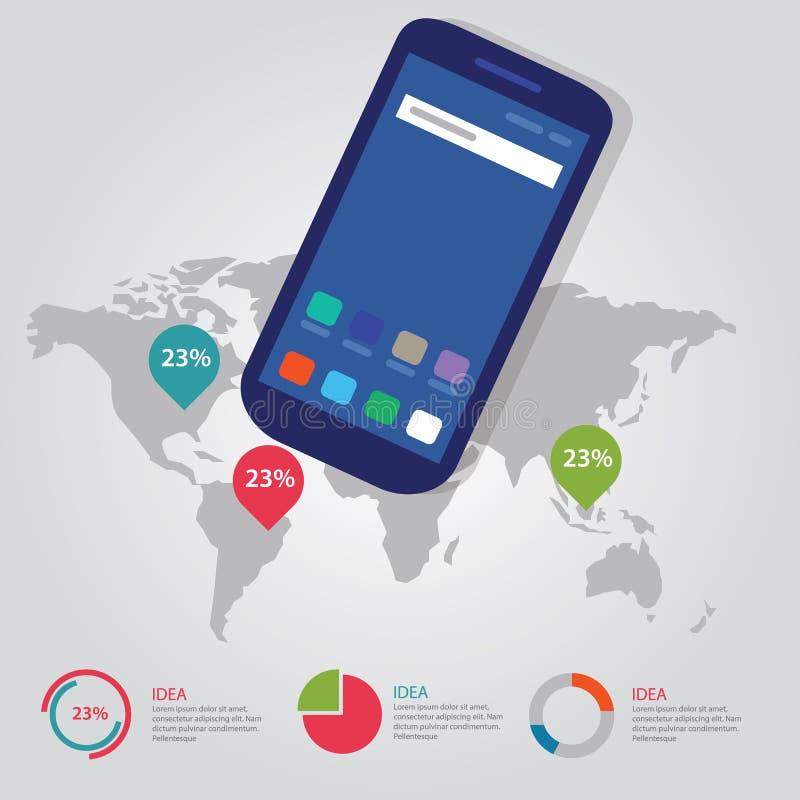 För information-diagram för global pekare för världskarta internationell färg för process affär full av dentelefon grejkommunikat stock illustrationer