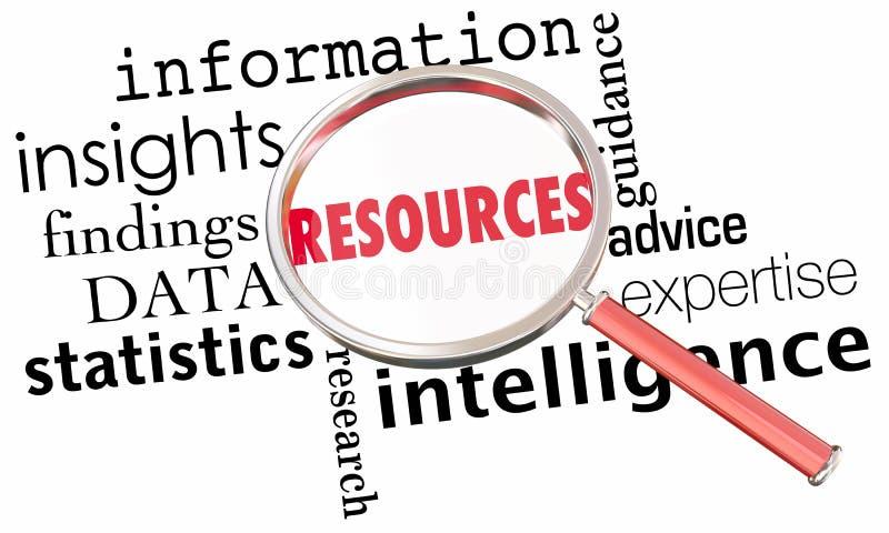 För informationsdata om resurser ord för förstoringsglas för fakta för inblickar royaltyfri illustrationer