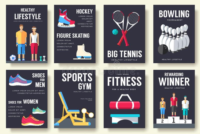 För informationskort om sport uppsättning Livsstilmall av flyear, tidskrifter, affischer, bokomslag, baner Idrotts- läkarundersök vektor illustrationer