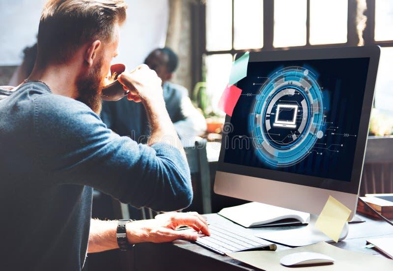 För informationsteknikanslutning om dator begrepp royaltyfria bilder
