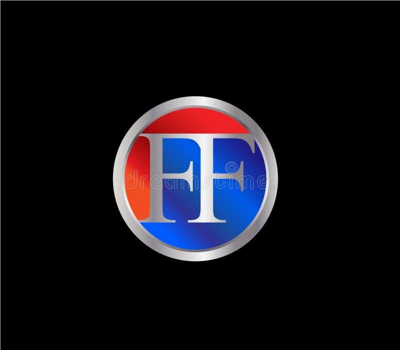 För initial färg senare Logo Design för silver cirkelform för FF röd blå vektor illustrationer