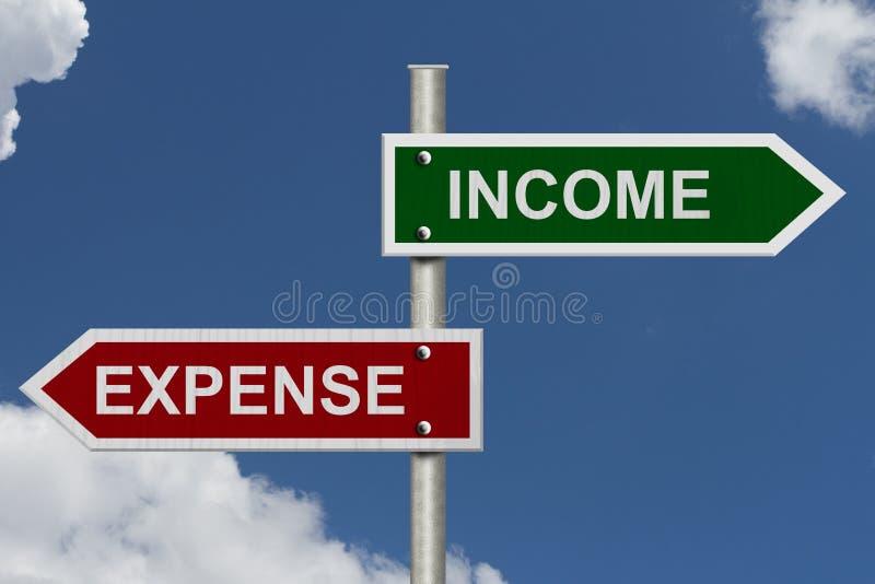 För inkomst kostnad kontra royaltyfri bild