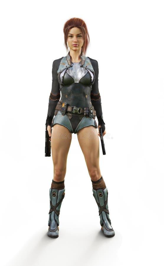 För innehavduell för futuristisk bepansrad rödhårig man som kvinnliga pistoler för laser poserar med förtroende som är klart för  stock illustrationer