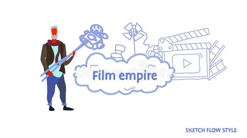 För innehavfilm för hög producent som man för begrepp för välde för film för kamera gör den videopd studion för bioproduktionclap vektor illustrationer