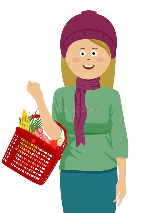 För innehavshopping för ung kvinna som korg fylls med grönsaker och frukter som bär den stack hatten och halsduken royaltyfri illustrationer