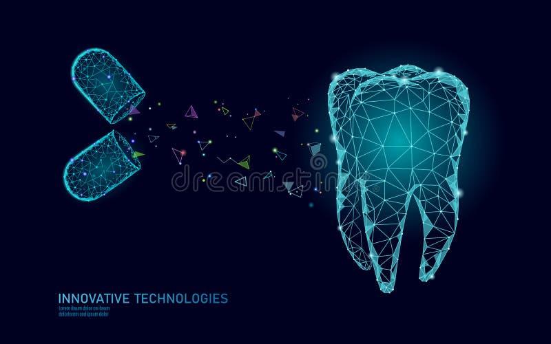 för innovationtandläkekonst för tand 3d polygonal begrepp Poly symbol för läkarbehandlingdrogpiller lågt Muntligt emaljåterställa royaltyfri illustrationer