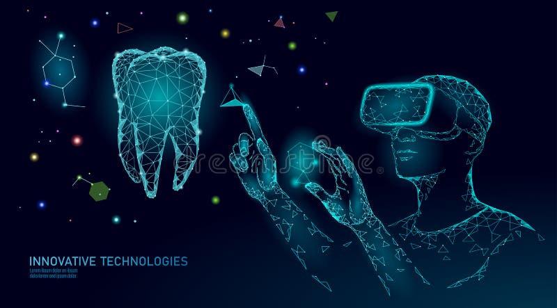 för innovationvirtuell verklighet för tand 3d polygonal begrepp Låg poly triangel för Stomatologysymbol Abstrakt muntligt tand- vektor illustrationer