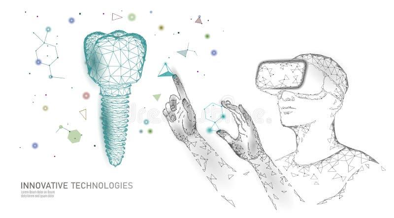 för innovationvirtuell verklighet för tand 3d polygonal begrepp Låg poly triangel för tandläkekonstimplantatsymbol Abstrakt muntl stock illustrationer