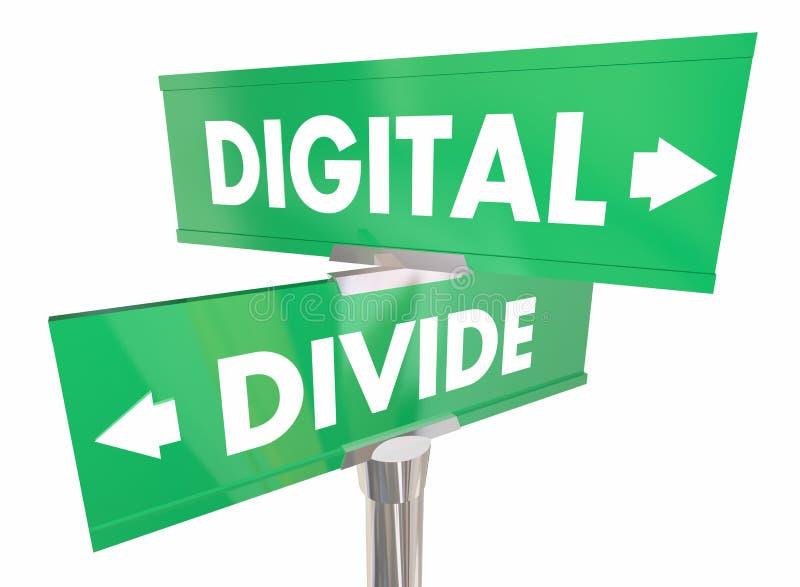 För internetåtkomstavskiljande två för Digital skiljelinje tecken 3d Illustrat vektor illustrationer