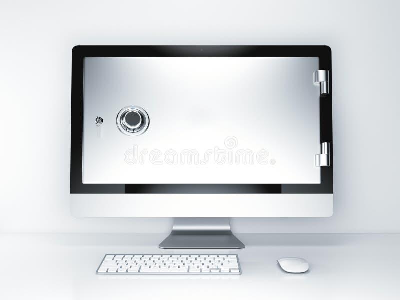 för internetframförande för begrepp 3d säkerhet Bildskärmskärm med den säkra dörren framförande 3d royaltyfri illustrationer