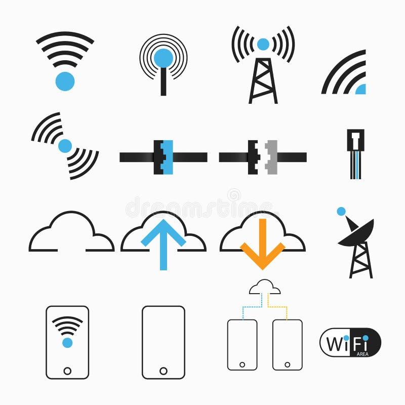 För internetnätverk för vektorer trådlös antenn vektor illustrationer