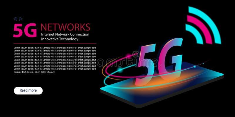 för internetwifi för nätverk 5G ny trådlös anslutning Glödande abstrakt bakgrund för teknologineon Innovativ utveckling av det gl royaltyfri illustrationer