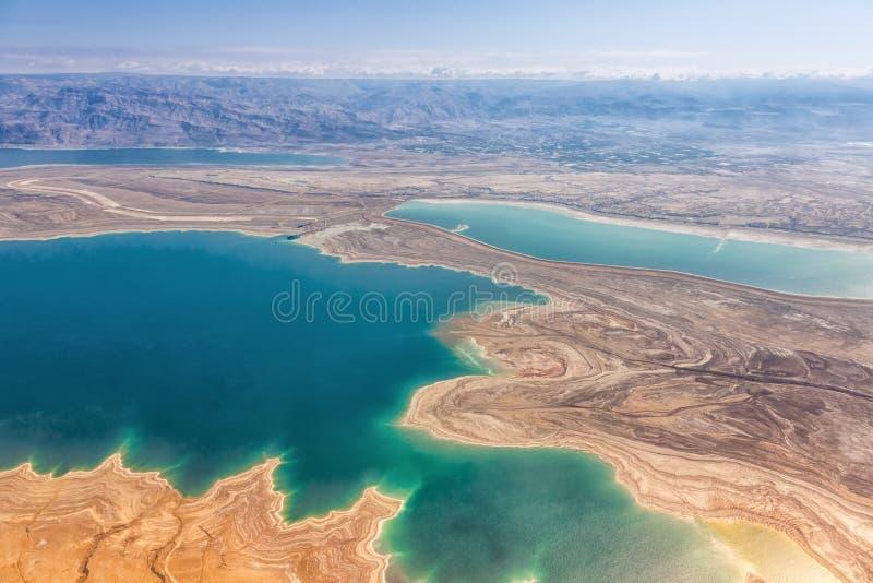 För Israel för dött hav natur landskap från ovannämnd Jordanien för flyg- sikt royaltyfri fotografi