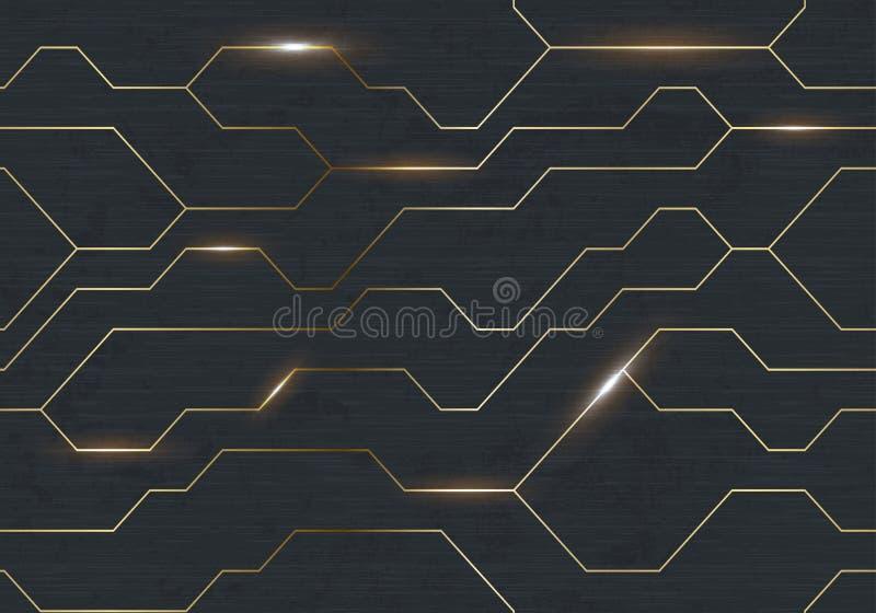 För järntechno för sömlös vektor futuristisk mörk textur Guld- abstrakt linje för elektronenergi på borstad svart metallbakgrund  vektor illustrationer