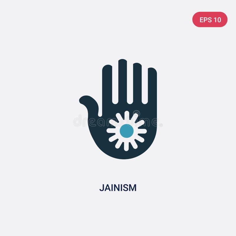 För jainismvektor för två färg symbol från religionbegrepp det isolerade blåa symbolet för jainismvektortecknet kan vara bruk för royaltyfri illustrationer