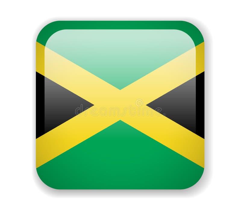 för jamaica för tillgänglig flagga glass vektor stil Fyrkantig ljus symbol på en vit bakgrund royaltyfri illustrationer