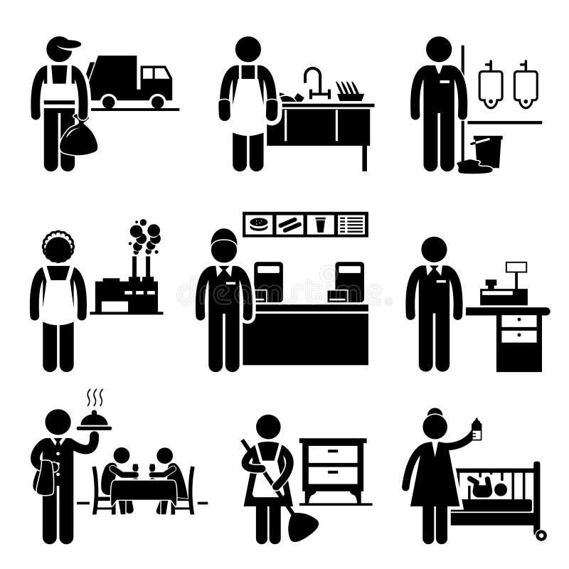 För jobbockupationer för låg inkomst karriärer stock illustrationer