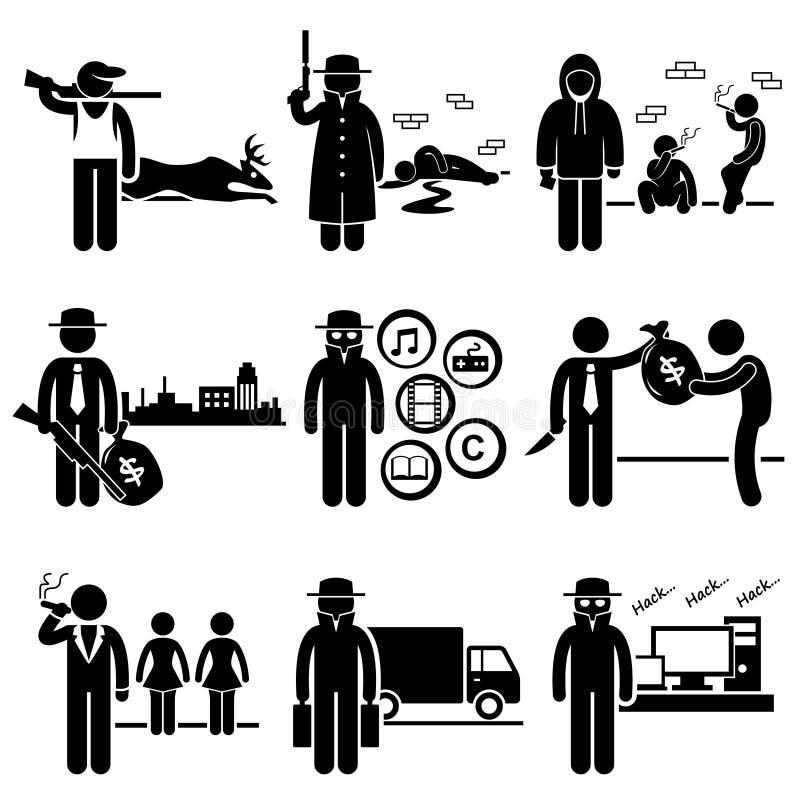 För jobbockupationer för olaglig aktivitet brotts- karriärer royaltyfri illustrationer