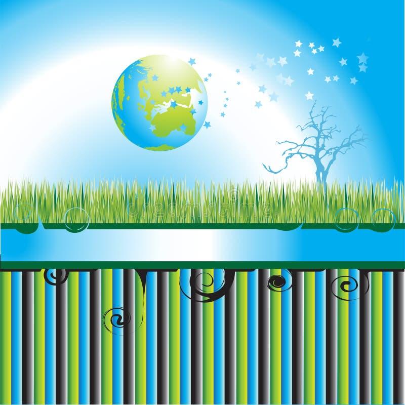 för jordklotöversikt för fantasi 3d värld stock illustrationer