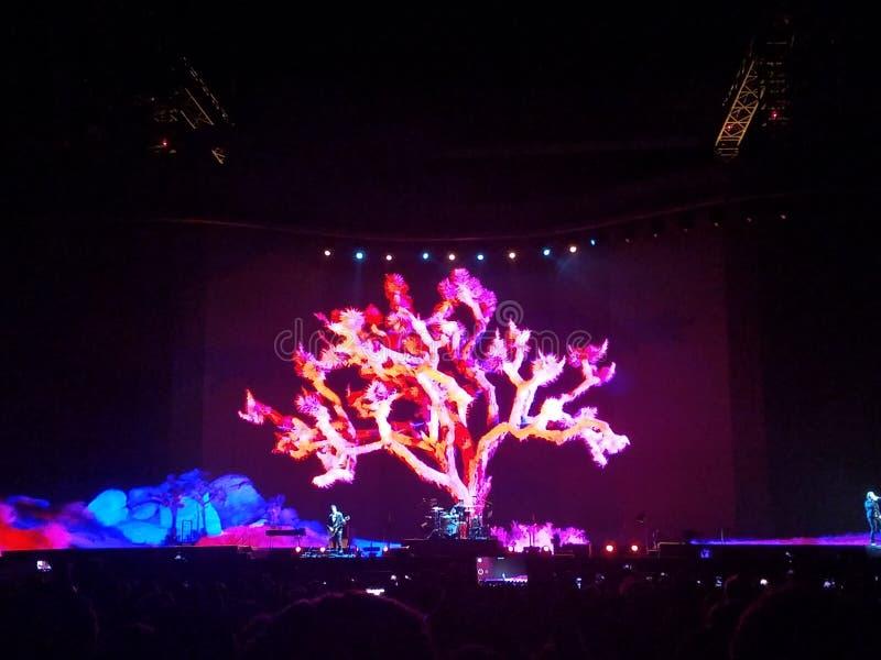 För Joshua för konsert U2 ljus träd arkivbilder