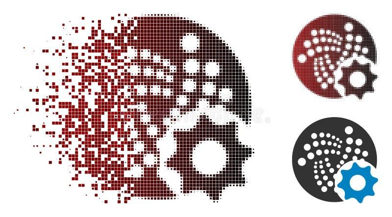 För jotaalternativ för skadat PIXEL rastrerad symbol för kugghjul vektor illustrationer